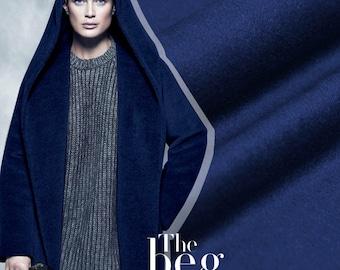 "Elegant Cashmere Wool Fabric - pearl night blue - 59""/ 618g width beautiful fashion fabric for winter overcoat/trousers/dress/scarf - 1 yard"