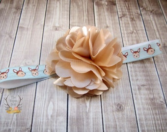 Little Deer Headband with Satin & Tulle - Fawn - Tan Light Blue -  Baby Infant Toddlers Girls - Large Flower - Deer Headband