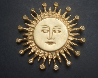 Unique Large Gilt Matte Metal Sun Brooch