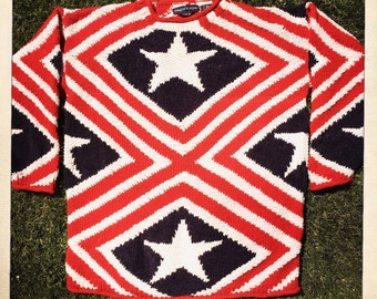 Awesome Handmade Patriotic Abstract American Flag Vintage 80s EAGLE'S EYE Red White & Blue Sweater Jumper - Size Large