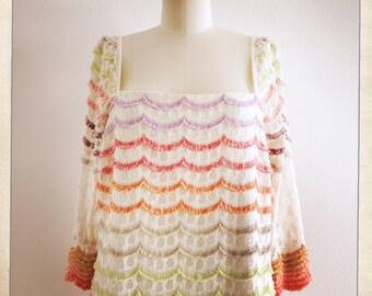 Vintage TRINA TURK Scalloped Sherbet Color FRINGE Lightweight Fabric Vintage Dress - Size 12