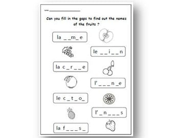 FRENCH FRUIT WORKSHEET-Primary Printable KS1 KS2,Learn the Fruits in French with Fruit Worksheet,Fill In the Gaps Activity,Downloadable