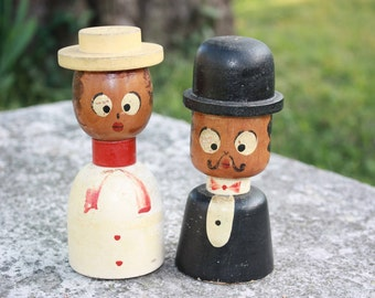 Vintage Man and Wife Wooden Salt and Pepper Shakers