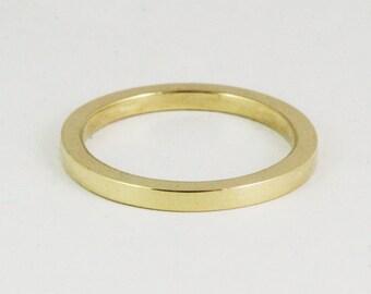2mm Square Stacking Gold Ring / 14k / 18k / 22k / 24k Solid Gold Minimalist Wedding Band