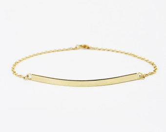 Solid 14k Yellow Gold Bar Bracelet - Personalized Bracelet / ID Bracelet
