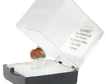 Orange Grossular Garnet Natural Crystals in Diopside Very Fine Thumbnail Gemstone Specimen, Sharp Facets, Bright Lustrous Faces, Vermont Gem