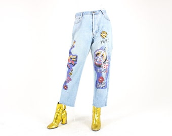 CLASSIC 80s NAF Jeans Graffiti Paint Spattered Artist Printed High Waist Boyfriend / Mom Jeans