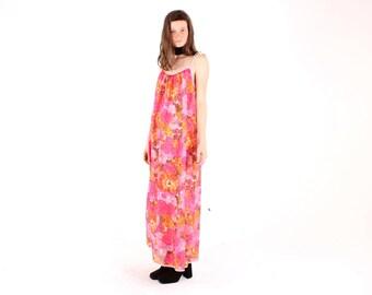SALE - 60s DREAMY Pop Art Bright Floral TRAPEZE Swing Spaghetti Strap Tent Maxi Festival Dress - So Gucci SS16