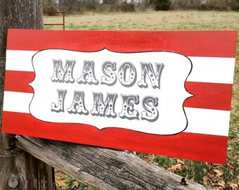 Vintage circus nursery sign. Baby sign.