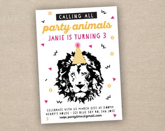 party animal invitation, party animal birthday invitation, printable invitation