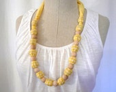 Wood Bead Necklace - FREE SHIPPING - Yellow Gingham Plaid Fabric and Tan Natural Wooden Beads - Fabric Necklace, Nursing Necklace, Teething