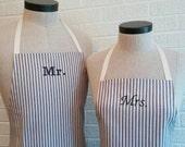 Navy Stripe Mr & Mrs Apron Set with Pocket FREE SHIPPING - Husband and Wife, Navy Blue Cream Ivory Stripe, Nautical Wedding Shower Gift