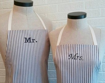Navy Stripe Mr & Mrs Apron Set with Pocket FREE SHIPPING - Husband and Wife, Navy Blue Cream Ivory Stripe, Nautical Wedding Shower Gift