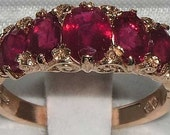 Fabulous Solid 14K Rose Gold Ruby Victorian Style Eternity Engagement Ring  - Made in England - Customize your Stones & Gold Color