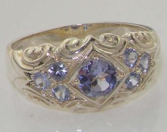 Sample SALE! Size 7.25, (UK N) Genuine Tanzanite Solid 925 Sterling Silver Vintage Scroll Design Cluster Band Ring