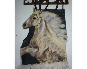 Tapestry, Felt Tapestry,Felt Image of Pegasus,Felt Wall PictureFirst of the kind,Felt tapestry of Lipizzaner Horse