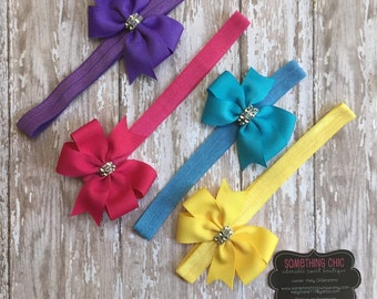 Infant Baby Toddler Headband Set with Matching Pinwheel Bow Summer Colors Pink Turqouise Yellow Purple