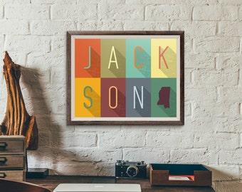 Jackson, Mississippi Grid - Typography Print