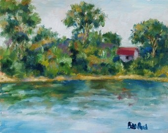 """House Along The River - 8"""" x 10"""" original oil painting FREE SHIPPING"""