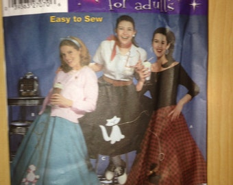 Simplicity Sewing Pattern 5403 Poodle Skirt Costume Size 14 22