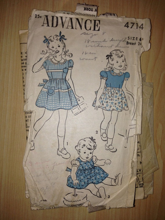 Vintage 30s Advance 4714 Sewing Pattern Girls Bodice Skirt and Panties Size 6