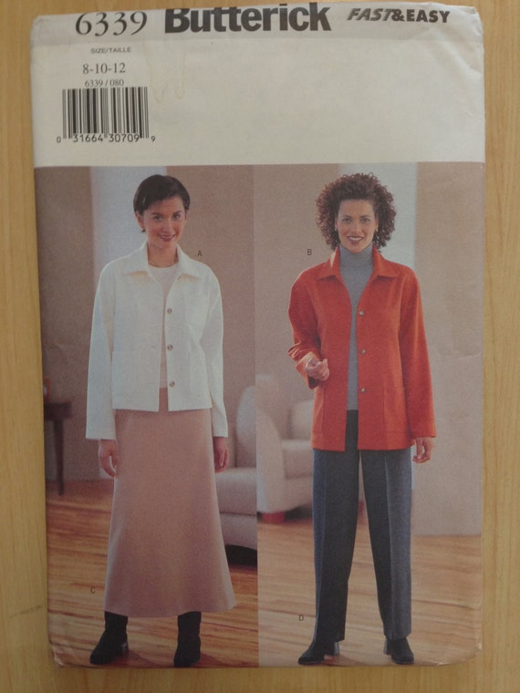 Misses/Miss Petite Jacket, Skirt and Pants Butterick 90s Fast and Easy Sewing Pattern 6339 UNCUT Size 8-10-12