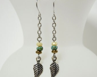 Silver Linear Leaf Earrings, Leaf Jewelry, Nature Jewelry, Bronze, Turquoise, Ivory, Dangle Earrings