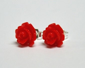 Tiny Red Rose Earrings - Flower Earrings - Silver Stud Earrings - Spring Inspired Jewelry