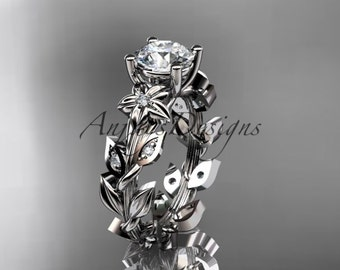 14k white gold diamond floral leaf and vine wedding ring, engagement ring ADLR215
