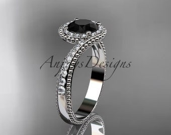 platinum halo diamond engagement ring with a Black Diamond center stone ADLR379