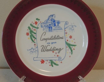 Vintage Homer Laughlin China Wedding Plate Congratulations on Your Wedding Dark Red Band Bride and Groom with Cake Wedding Gift Bridal Gift