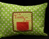 """Green Brown and Orange Tooth Fairy Pillow Case with Pocket for Tooth - Polka Dots, Zipper - Fits 12"""" X 16"""" Pillow Form"""