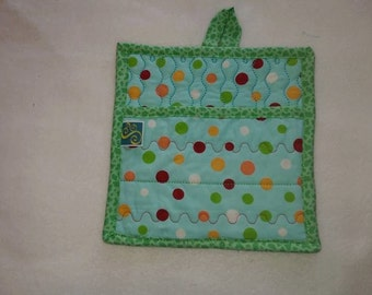 9 X 8 Aqua and Green Polka Dots, Pot Holder, Hot Pad, Oven Mitt, Insulated, Quilted, Pocket, Kitchen