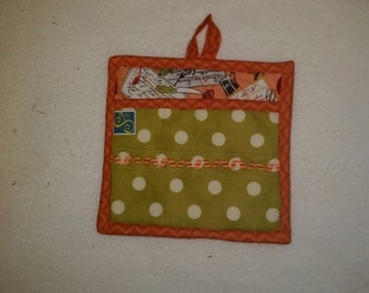 9 X 8 Recipe Cards, Orange and Green, Pot Holder, Hot Pad, Oven Mitt, Insulated, Quilted, Pocket, Kitchen