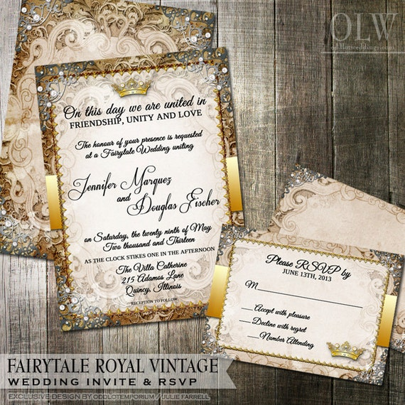 Vintage Fairytale Royal Wedding Invitation By OddLotPaperie