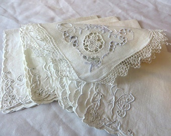 Set of 7 Dainty Cotton Lace Scalloped Edge Embroidered Floral Butterfly White Napkins