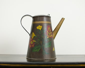 Vintage Tole-Ware Coffee Pot / Coffee Maker with Lid