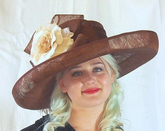 Large Brown Sinamay Derby hat