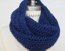 Best Selling shops items ,Hand knit knitted infinity Scarf , something navy blue scarf, womens men  Gifts Guide - By PiYOYO