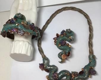 HAR COBRA Parure Necklace, Earrings and Clamper Bracelet  1950's   RARE   Item: 17331-34