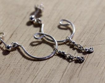 sterling silver hoop earrings | handmade jewelry | half hoop earrings with silver dangle | silver hoop posts | artisan jewelry by girlthree