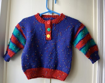 Vintage handknit sweater / primary colours pullover sweater / red yellow green and blue knit jumper  / Baby size 12 to 18 months