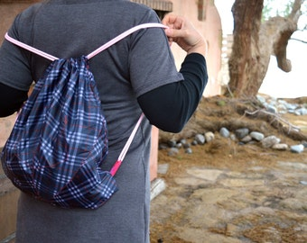 Upcycled/Recycled Drawstring tote backpack from plaid Broken Umbrella