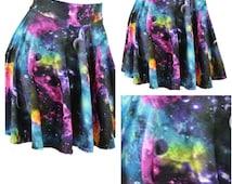 GALACTICA- Galactic print skirted bikini bottoms, galactic print bikini, galaxy bikini, skirted high waisted bikini bottoms