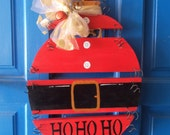 Santa Sign, Holiday Door Hanger, HO HO HO, Santa Wood Ornament, Plank Art, Christmas Door Hanger, Holiday Sign, Holiday Door Sign