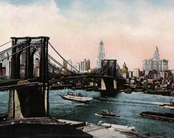 Vintage HH Tammen Brooklyn Bridge New York Skyline Souvenir Postcard Divided Very GOOD UNUSED Condition