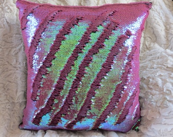 "Mermaid Pillow Cover, 12"" Dusty Rose, Mermaid Pillow, Sequin Pillow Cover, Color-changing Pillow Cover, Decorative Pillow, Throw Pillow"