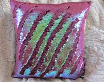 Mermaid Pillow, 12x12 Dusty Rose, Sequin Pillow, Color-changing Pillow, Decorative Pillow, Throw Pillow