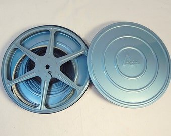 Light Blue Movie Film Reel and Canister Vintage Aluminum Adams Prop Home Theater Decor #1