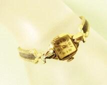 Helbros Ladies Wrist Watch - Vintage 10k GF Gold Filled 17 Jewel Black Suede Band